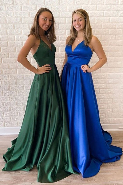 simple royal blue satin prom dresses, v neck royal blue satin prom dresses, lace up royal blue satin prom dress P0821