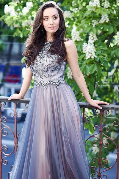 jewel tulle prom dresses, a line tulle prom dresses, long tulle prom dresses, beaded tulle prom dress P0822