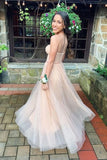 flowy champagne tulle prom dresses, sweetheart champagne tulle prom dresses, glittter champagne tulle prom dresses, sweetheart champagne tulle prom dress P0828