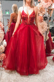 Elegant Lace-Up Back A-Line Beaded Red Long Prom Dress P0849