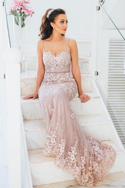 Elegant Straps Mermaid Pink Long Prom Dress with Appliques P0853
