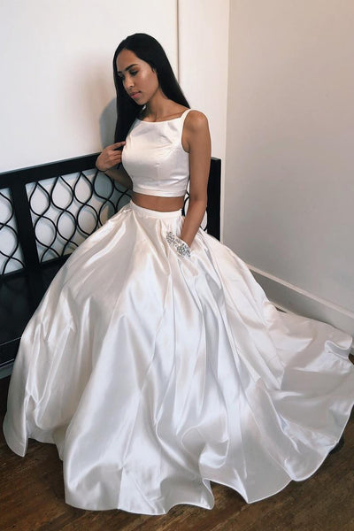 Elegant Two Piece White Long Prom Dress with Beaded Pockets P0856