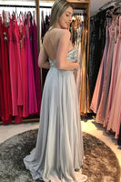 Gorgeous Spaghetti Strap A-Line Silver Prom Dress with Beading P0863