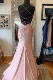 Elegant Mermaid V Neck Lace-Up Back Pink Long Prom Dress P0865