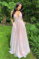 sparkly pink tulle prom dresses, plunging neck pink tulle prom dresses, aline pink tulle prom dress P0868