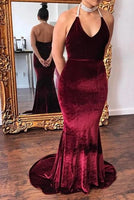 halter burgundy prom dresses, mermaid burgundy prom dresses, burgundy velvet prom dresses, plus size burgundy prom dress P0879
