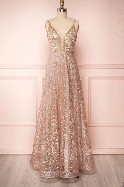sparkly rose gold prom dresses, glitter rose gold prom dresses, vneck rose gold prom dresses, spaghetti strap rose gold prom dress P0882
