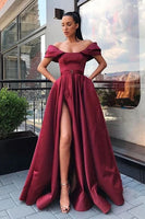 long burgundy satin prom dresses, off the shoulder burgundy satin prom dresses, elegant burgundy satin prom dress P0896