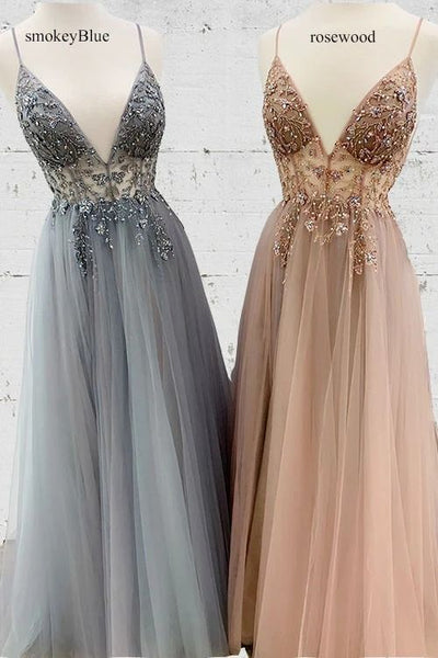 vneck prom gown, beaded prom gown, spaghetti strap prom gown, long tulle prom gown P0897