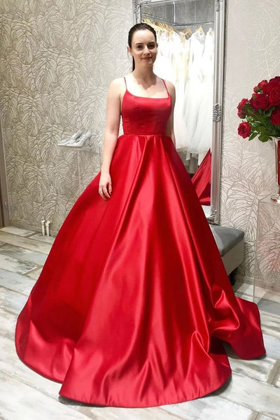 elegant long red satin prom dresses, simple aline red satin prom dresses, spaghetti strap red satin prom dresses P0900