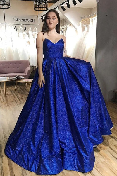 sparkly royal blue satin prom dresses, glitter royal blue satin prom dresses, strapless royal blue satin prom dresses P0901
