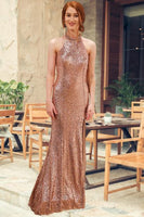 mermaid gold evening gown, halter gold evening gown, slit gold evening gown, sequin evening gown P0911