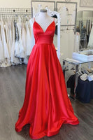simple red stain prom dresses, aline red prom dresses, long red formal gown, spaghetti strap red prom dress P0918