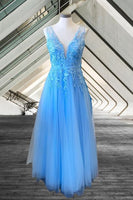 sky blue prom dresses, long sky blue tulle prom dresses, sky blue appliqued prom dresses, elegant sky blue formal gown P0919