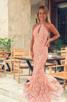 mermaid pink prom dresses, pink lace prom dresses, mermaid halter pink prom gown, long lace formal dresses P0921