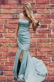 mermaid ice blue prom dresses, fitted prom dresses, strapless prom gowns P0924
