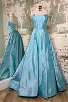 simple ice blue satin prom dresses, elegant ice blue satin prom gown, ice blue formal dresses P0926