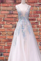 Princess white prom dresses, colorful prom dresses, white floral prom dresses, white embroidered prom dresses P0927