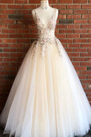 Elegant V Neck Ivory Long Prom Dress with Floral Embroidery P0930
