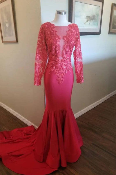 Elegant Long Sleeves Mermaid Red Long Prom Dress with Embroidery P0936