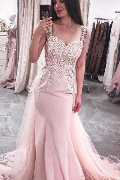 Elegant Mermaid Straps Pink Long Prom Dress with Appliques P0938