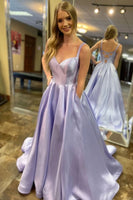 Elegant Straps A-Line Lavender Long Prom Dress with Pockets P0949