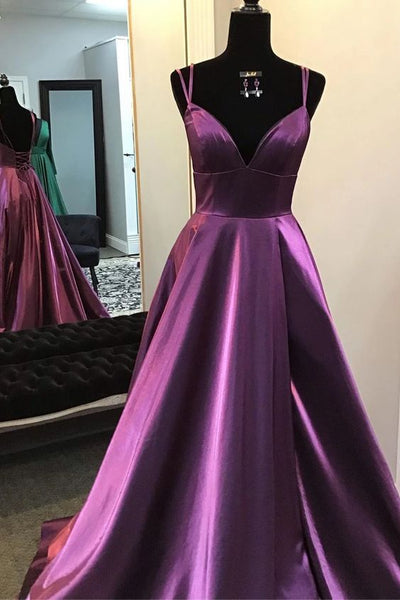 Gorgeous V Neck Lace-up Back Plum Long Prom Dress P0950