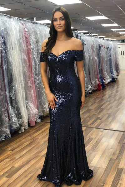 Sparkly Off Shoulder Mermaid Navy Blue Long Prom Dress P0961