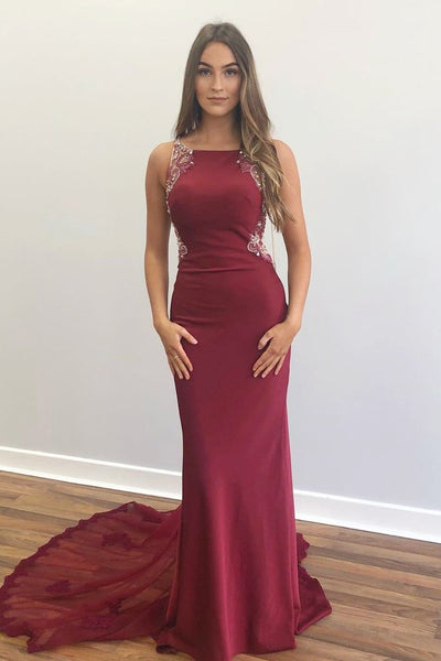 Elegant Beaded Mermaid Red Long Prom Dress with Appliques P0964
