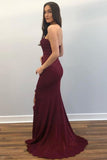 Elegant Strapless Burgundy Long Prom Dress with Slit P0967