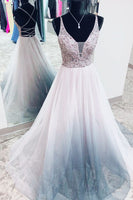 Gorgeous V Neck Criss Back Silver Beaded Long Prom Dress P0974