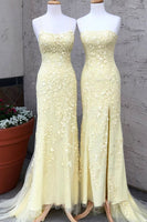Elegant Strapless Mermaid Yellow Long Lace Prom Dress with Slit P0976
