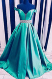 Elegant Off the Shoulder Green Long Prom Dress with Beading P0978