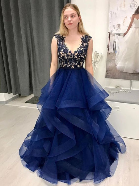 Stylish Round Neck Dark Navy Blue Lace Long Prom Dresses, Navy Blue Lace Formal Dresses, Fluffy Dark Blue Lace Evening Dress P0979
