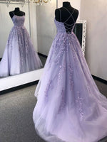 Stylish Backless Purple Lace Long Prom Dresses, Purple Lace Formal Dresses, Purple Evening Dresses P0983