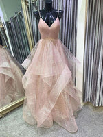 Stylish V Neck Backless Rose Gold Long Prom Dress, Backless Rose Gold Formal Dress, Fluffy Rose Gold Evening Dress P0985