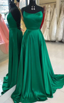 Long Prom Dresses with Cross Back, Emerald Green Prom Dresses Party Dresses P3049
