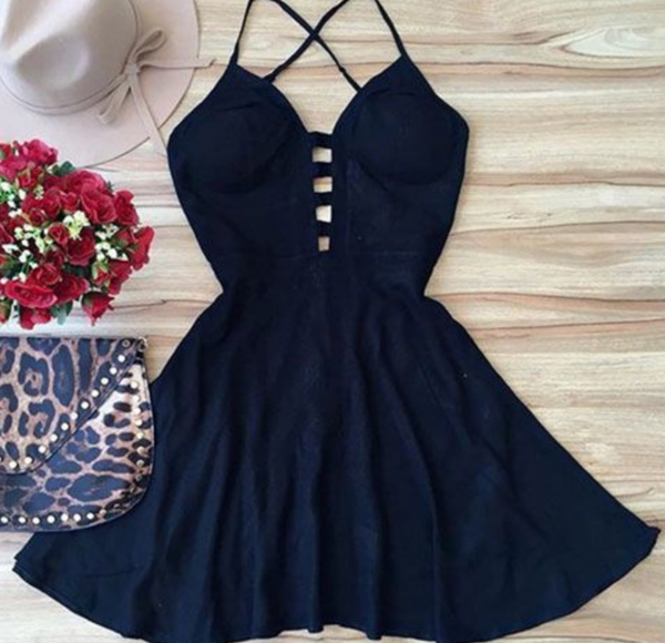Cute backless short dress, women fashion dress Short Prom Dress P3072