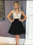 Sparkle Beaded Short Black Homecoming Dress Prom Gowns P3225