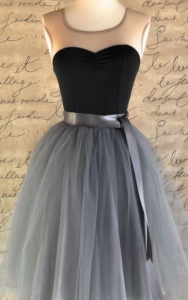 Black Homecoming Dresses, Short Prom Dresses,Vintage Ribbons Belt Tulle Short Prom Dress Party Dress P4061