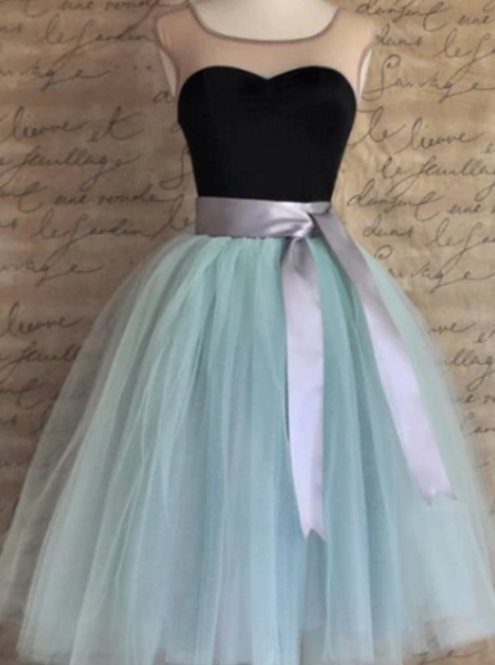 Black Homecoming Dresses, Short Prom Dresses, Vintage Ribbons Belt Tulle Short Prom Dress Party Dress P4062