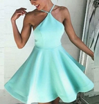 Short homecoming dresses,mint green homecoming dresses,backless homecoming dress P4074