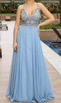 Dignified Spaghetti Straps V-neck Light Blue Prom Dress with Appliques P4138