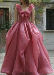 sexy sleeveless deep V-neck dance dress Women fashion floor length Pleated long party dress P4151