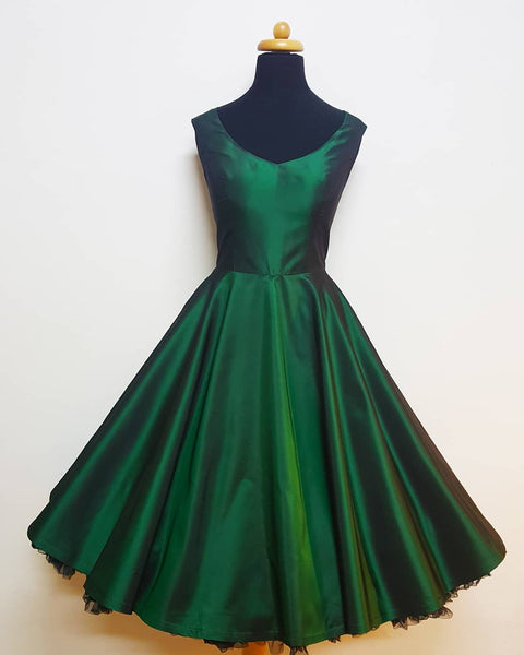 50s Vintage Short Green Homecoming Dress P4266