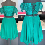 Off the Shoulder Two Piece Green Homecoming Dress P4267