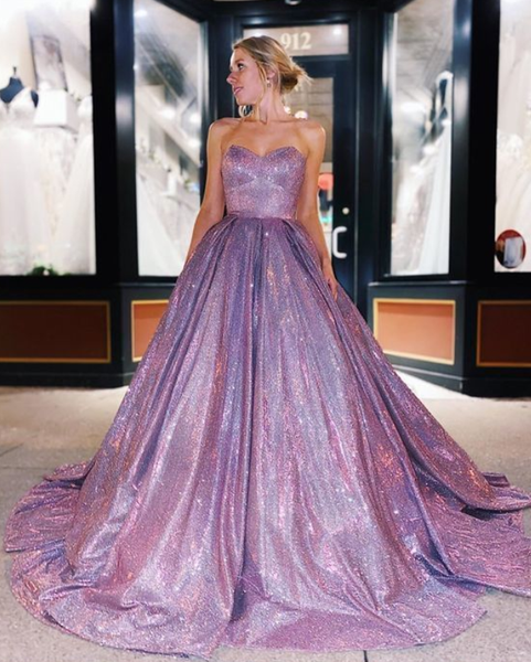 shine purple prom dresses, sweetheart long prom gowns, fashion graduation party dress P4327