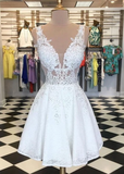 White v neck lace short prom dress, white homecoming dress P4353