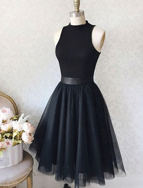 Vintage A-Line High Neck Sleeveless Knee-Length Black Homecoming Dress With Tulle,Short Homecoming Dress,Graduation Dress P4361