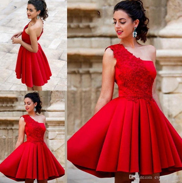 One Shoulder Red Homecoming Dresses, Short Cute Prom Dresses, Lovely Teen Formal Dress P4382